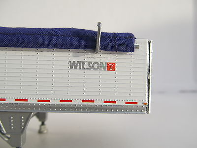 DCP 1/64 SCALE WILSON GRAIN TRAILER WIHTE WITH PURPLE TARP AND SILVER HOPPERS 4