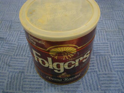 39 OZ Folgers COFFEE Tin Can 2LB 7OZ and lid Big Lebowski