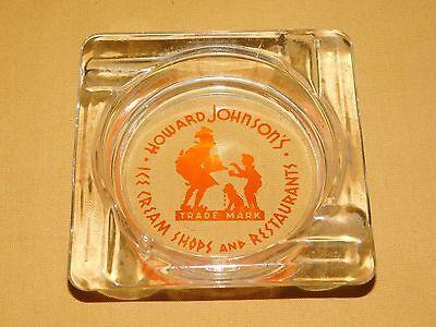 (VINTAGE HOWARD JOHNSON'S ICE CREAM SHOPS AND RESTAURANTS GLASS ASHTRAY)