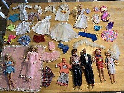 Lot Of Vintage Barbie Ken Stacie 80s/90s Dolls Clothes Accessories Wedding Gown