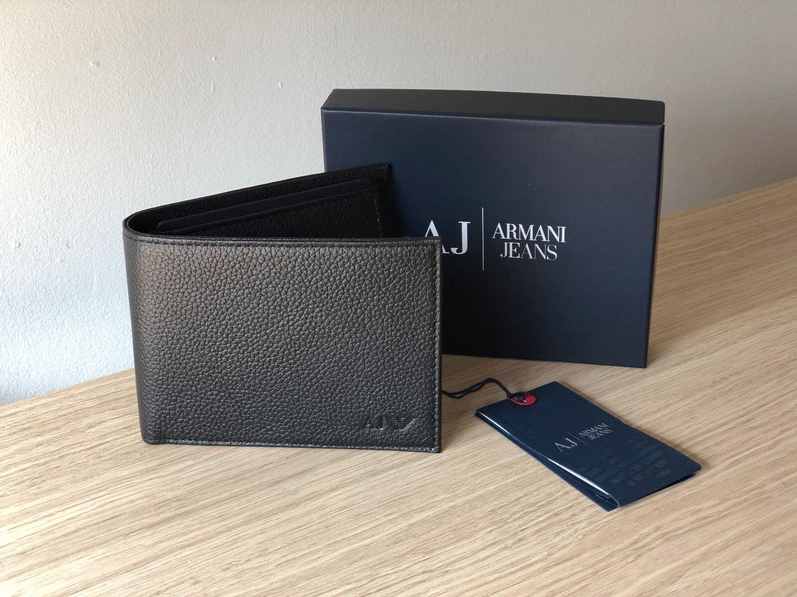 Armani Jeans Men's Black Leather Wallet, Bi-Fold, Style 06V2