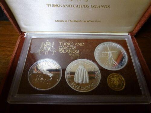 Turks & Caicos Islands 1976 GOLD & Silver Proof Set w/ BOX