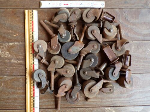 Lot of Vintage Antique Wheels Casters Furniture Table Chair Dresser Wood