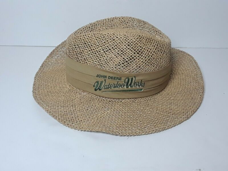 Vintage John Deere Waterloo Works Straw Farmer Hat
