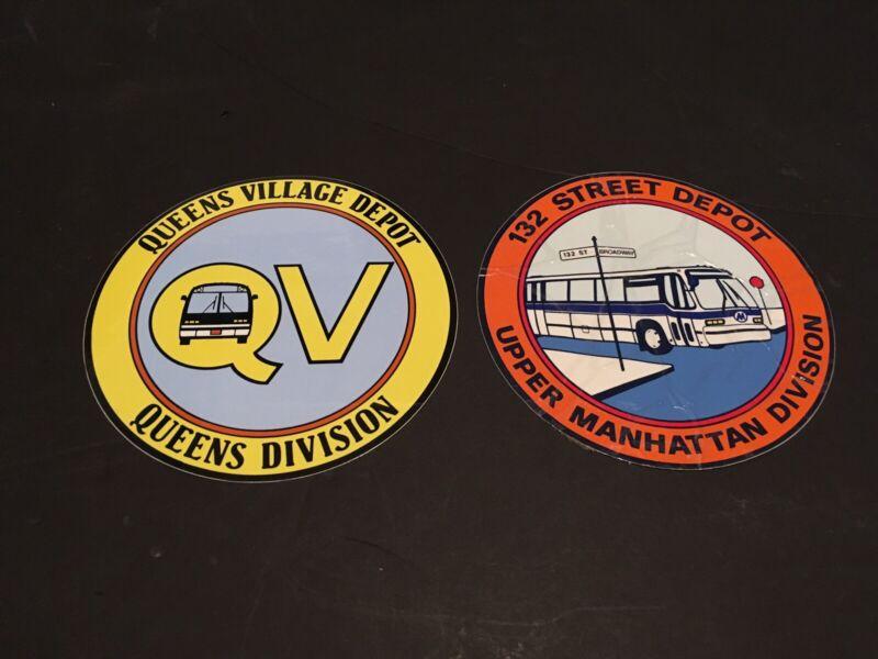 Set of 2 New York City Transit Bus Depot Stickers MaBSTOA QV MHV 132 NYCTA RTS