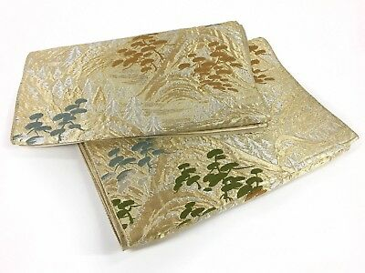 Vintage Elegant Gold & Cream Silk Flat Obi in a Classic Pine Tree Design: Aug17D