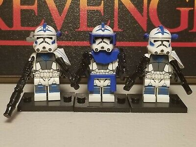 Captain 501st Custom & two assault minifigures lot 3 clone troopers Star Wars