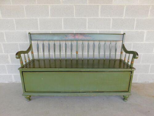 """Antique Primitive Double Lift Lid Wood Box Paint Decorated Bench 62""""W"""