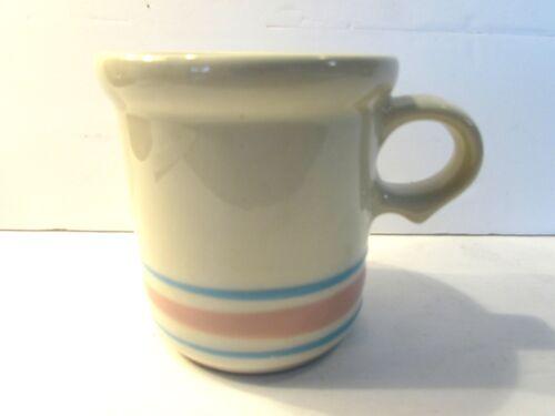 VINTAGE MCCOY POTTERY STONEWARE COFFEE CUP/MUG #1412 PINK & BLUE STRIPES