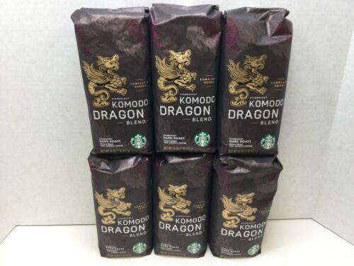 Starbucks Komodo Dragon Blend Whole Bean Coffee, 16oz, Case of 6 Bags, FEB 2021