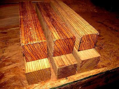 Five  5  Kiln Dried Zebrawood Turning Blanks Lathe Turning Block 2  X 2  X 11