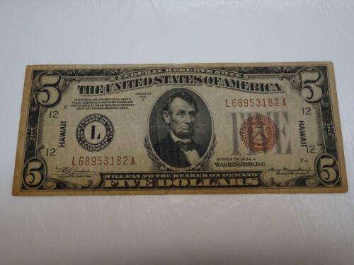 FR 2302 1934 A $5 Hawaii Emergency Note FRN - You Grade It (#Bb3f)