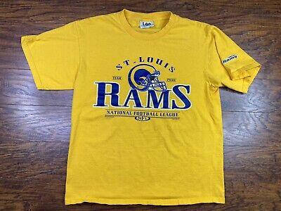 Vintage 90s St Louis Rams T Shirt Large Yellow O1