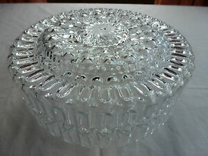 Lovely-VINTAGE-Light-shade-PRESSED-Clear-GLASS-Round-20cm-Across