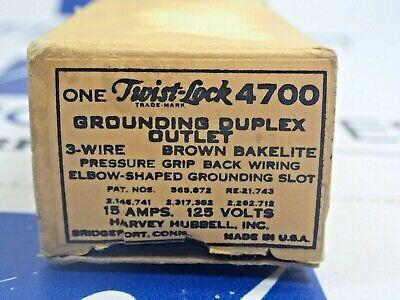 Hubbell 4700 Twist Lock Duplex Outlet 15 Amp 125 Volt New