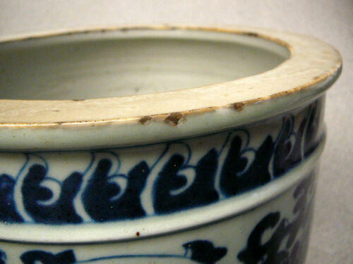 Large Chinese porcelain blue and white brush washer 19th C Qing period no mark