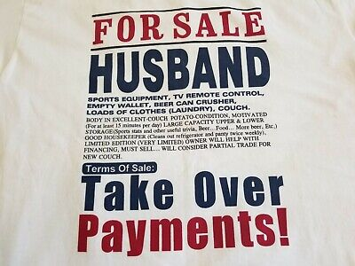 Alstyle Apparel & Activewear AAA Husband For Sale T-shirt White Large