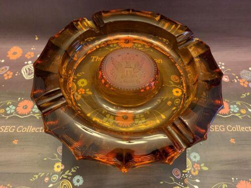 Fostoria Glass Amber Ashtray 1887 Raised Eagle Center Vintage