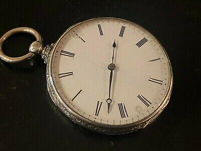 Antique Silver Key Wind Pocket Watch 47mm