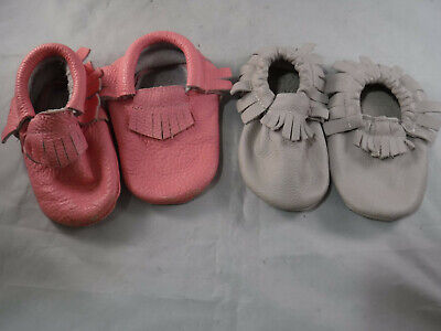 FC6 BABY TODDLER INFANT 2 PAIR LEATHER MOCCASIN FRINGE BOOTIE 6.5 7.5 18 MO 2 YR ()