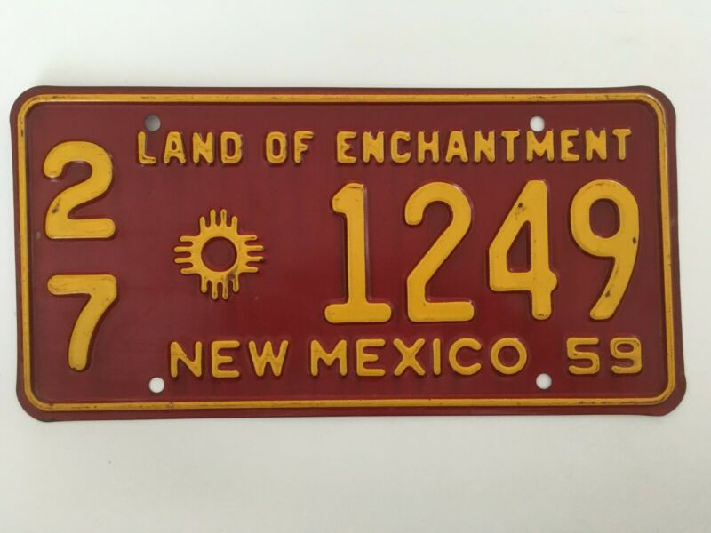 1959 New Mexico License Plate 100% ALL ORIGINAL