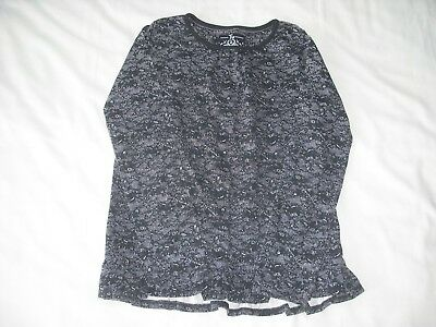 TU girls black grey lace effect long sleeve top 9 years autumn winter