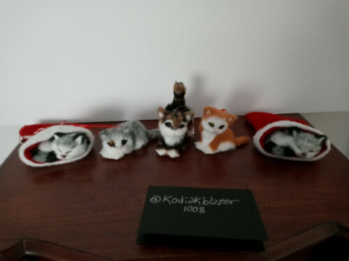Lot 5 Cat Kitten Faux Fur Animal Christmas Ornament Orange & White Grey Brown
