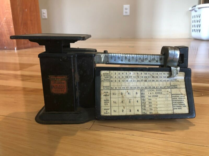 Vintage Triner Scale all metal USA with chart on it