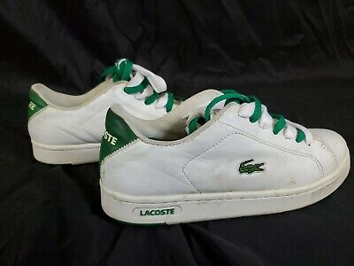 Lacoste Sport Shoes Sneakers White/Green Leather MENS USA 8.5