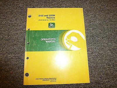 John Deere 2155 Utility 2355n Orchard Tractor Owner Operator Manual Oml64481