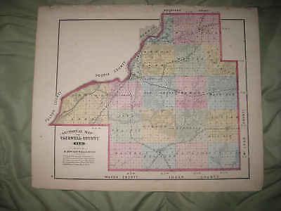 1861 IL MAP Palos Heights Hills Park City Forest Ridge Pekin Peoria Peru HISTORY