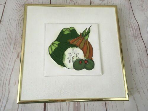 Vintage Harris Strong Art Tile Framed Veggies Vegetables Midcentury Modern RARE