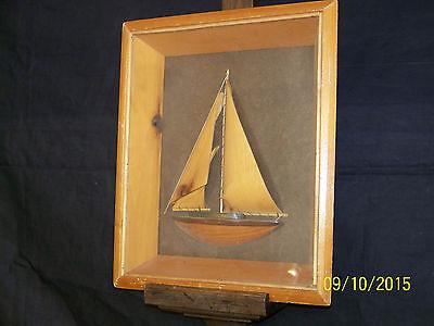 """Old"" Hand Carved Sail Ship Maritime Folk Art Diorama Box Framed"