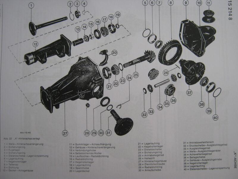 Bild 12: Explosionszeichnung vom Aufbau des Hinterachsgetriebes/Differenzial