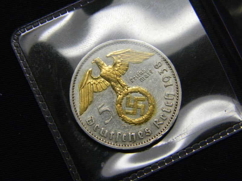 1936-1939 24k Gold Gilded German WWII 5 Mark Silver Coin