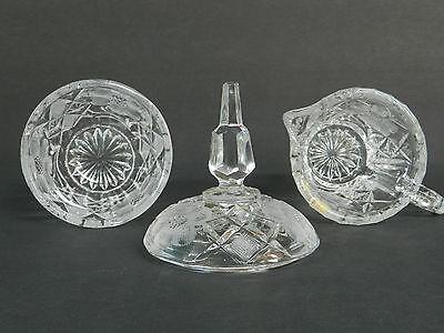 NEAR PRISTINE Violetta Hand Cut 24 Lead Crystal Cream Pitcher Sugar Bowl W/Lid  - $42.00