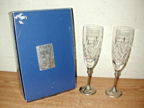 VINTAGE SET OF 2 SILVER PLATED CRYSTAL GOBLETS IN ORIGINAL BOX