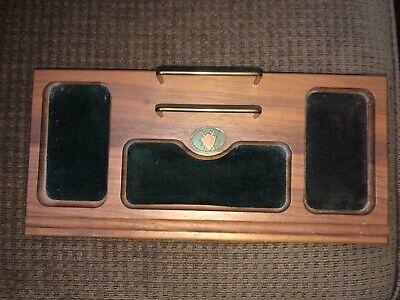 Vtg Desk Organizer Tray Wooden Multi-color Gold Tone Swordsshield