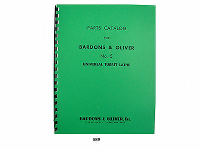 Bardons Oliver No. 5 Universal Turret Lathe Parts List Manual Cataloge 598