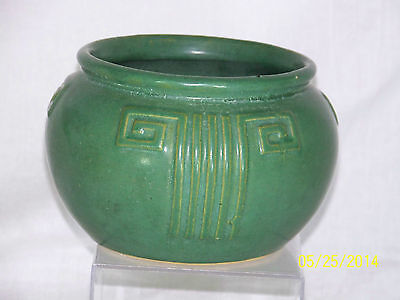 Antique Zanesville #103 Arts & Crafts Matte Green Glaze Art Pottery Bowl Vase
