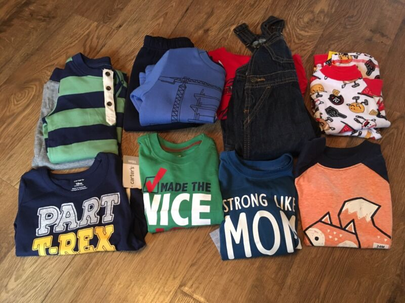 Nwt~boys Size 18-24 Months Clothes Lot Of 12 Pcs.~fall/winter Outfits & Pajamas