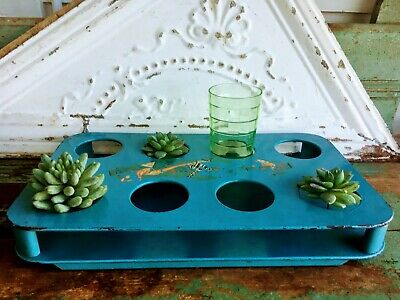 Vintage Shabby Blue Wood Cup Reversible Flat Tray Serving Tray