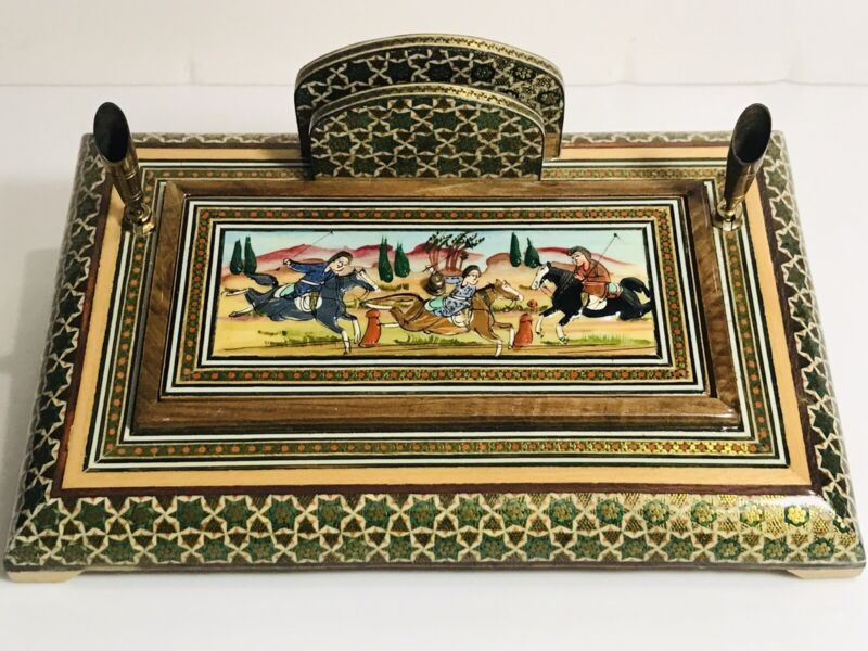 Vintage Persian wooden 2 pen desk set katam marquetry with miniature painting