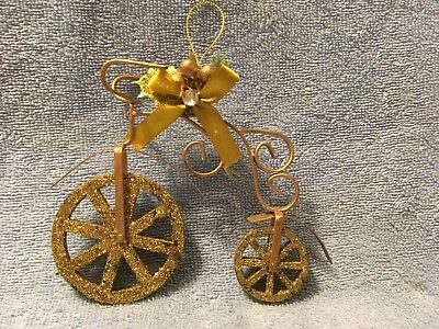 HOLIDAY TIME: GOLD GLITTER BICYCLE CHRISTMAS ORNAMENT
