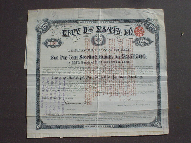 City of Santa Fé 100 Pound Sterling Bond to Bearer 1906 uncancelled + coupons