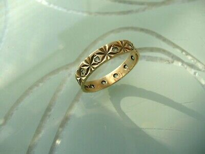 Vintage Gold Ring Stamped 156 - With Stones   Small size Wedding Ring ? Eternity