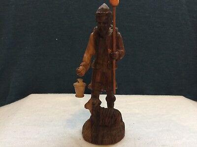 """Vintage Hand Carved Wood Figurine Man Sheep Shepherd 6.75"""""""