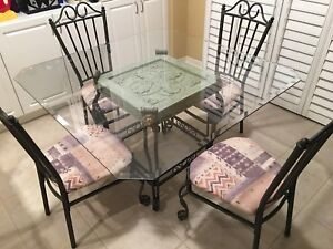 Square Glass Wrought Iron Dining Room Set