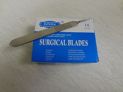 100 Surgical Scalpel Blades 15 Sterile Carbon Steel 1 Scalpel Handle 3
