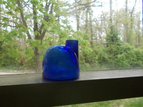 RARE BEAUTIFUL COBALT BLUE 1870 ORIGINAL IGLOO TURTLE INK BOTTLE GROUND LIP